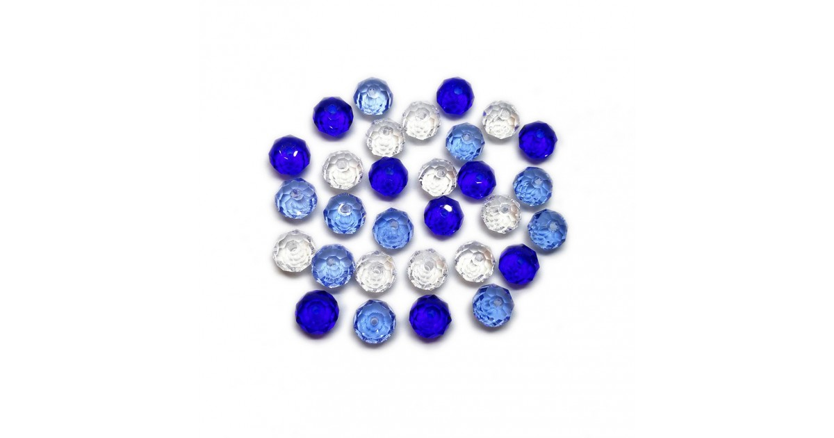 Gradual-Color Selection of Faceted Glass Crystal Rondelle Beads 8 mm - Royal Blue