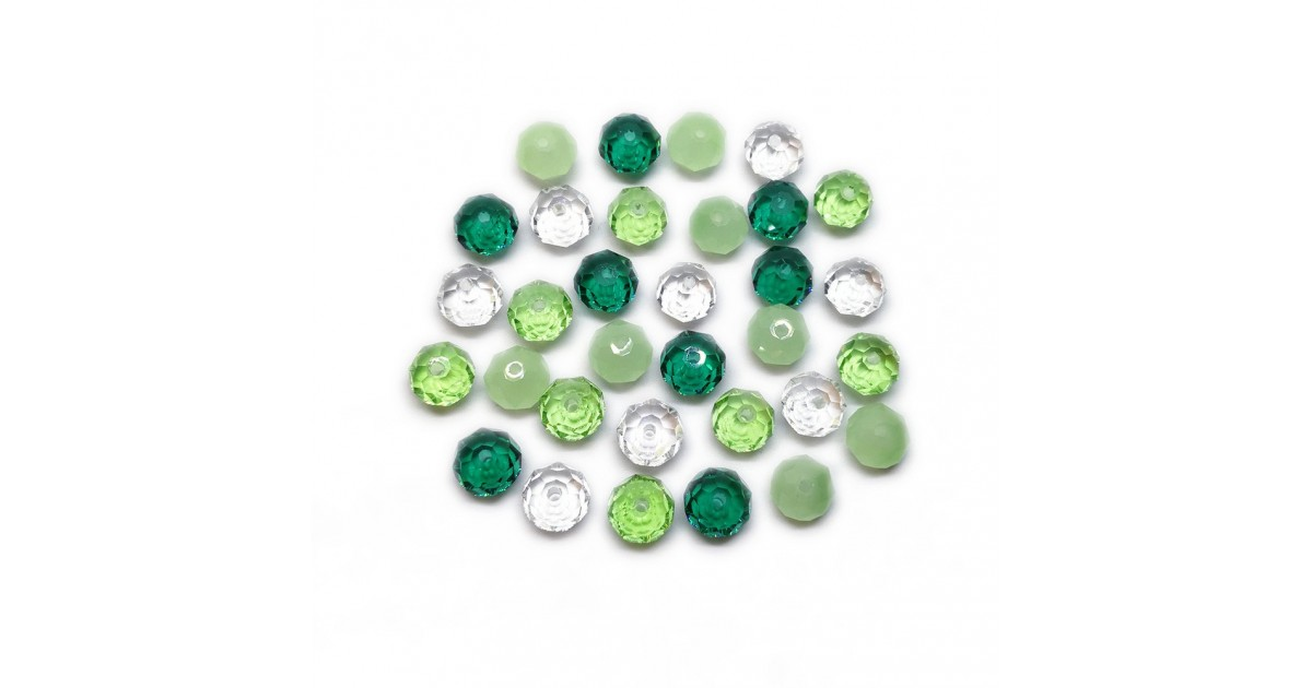 Gradual-Color Selection of Faceted Glass Crystal Rondelle Beads 8 mm - Emerald Green
