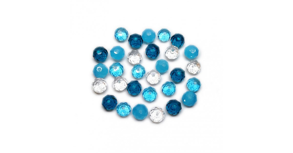Gradual-Color Selection of Faceted Glass Crystal Rondelle Beads 8 mm - Turquois Blue