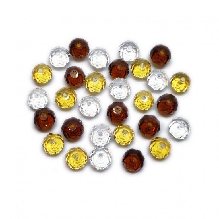 Gradual-Color Selection of Faceted Glass Crystal Rondelle Beads 8 mm - Amber