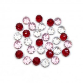 Gradual-Color Selection of Faceted Glass Crystal Rondelle Beads 8 mm - Dark Red