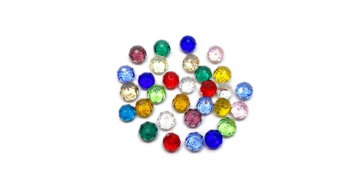 Faceted Glass Crystal Rondelle Beads 8 mm - Assorted Colors