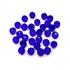 Faceted Glass Crystal Rondelle Beads 8 mm - Royal Blue