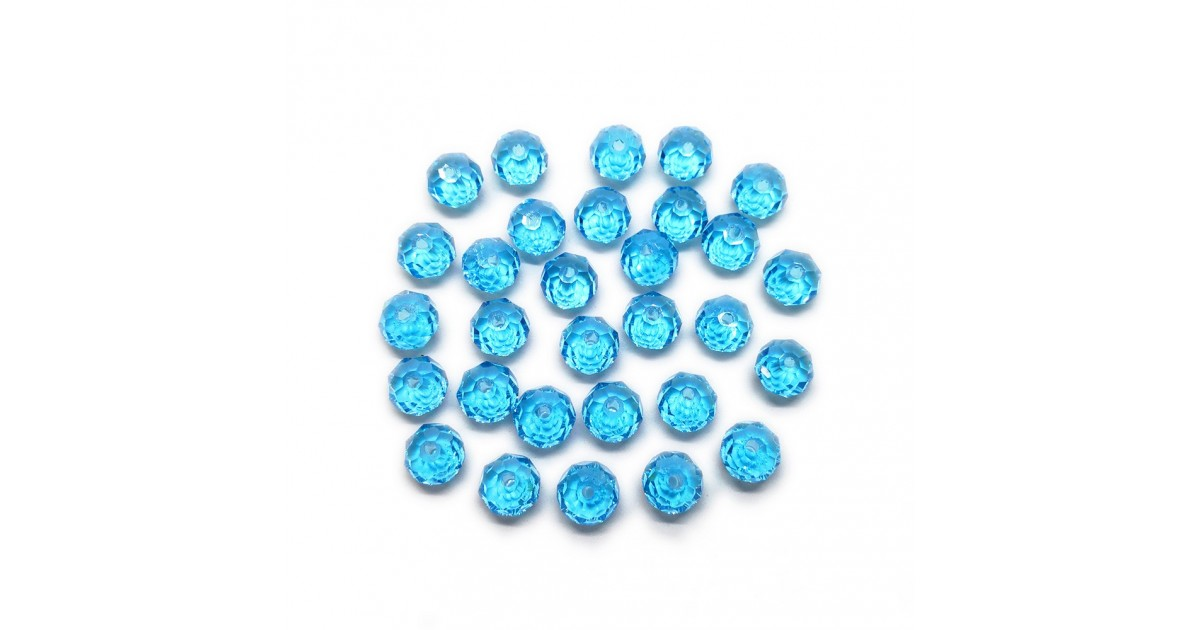 Faceted Glass Crystal Rondelle Beads 8 mm - Sky Blue