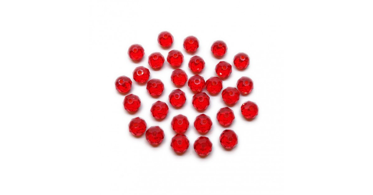 Faceted Glass Crystal Rondelle Beads 8 mm - Red