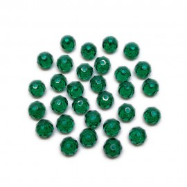 Faceted Glass Crystal Rondelle Beads 8 mm - Emerald Green
