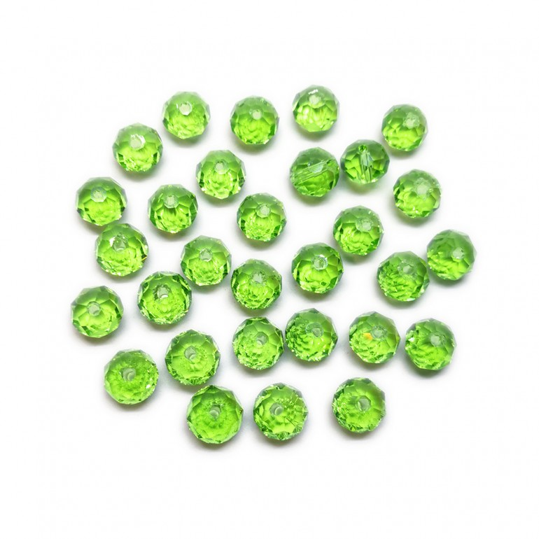 Faceted Glass Crystal Rondelle Beads 8 mm - Green