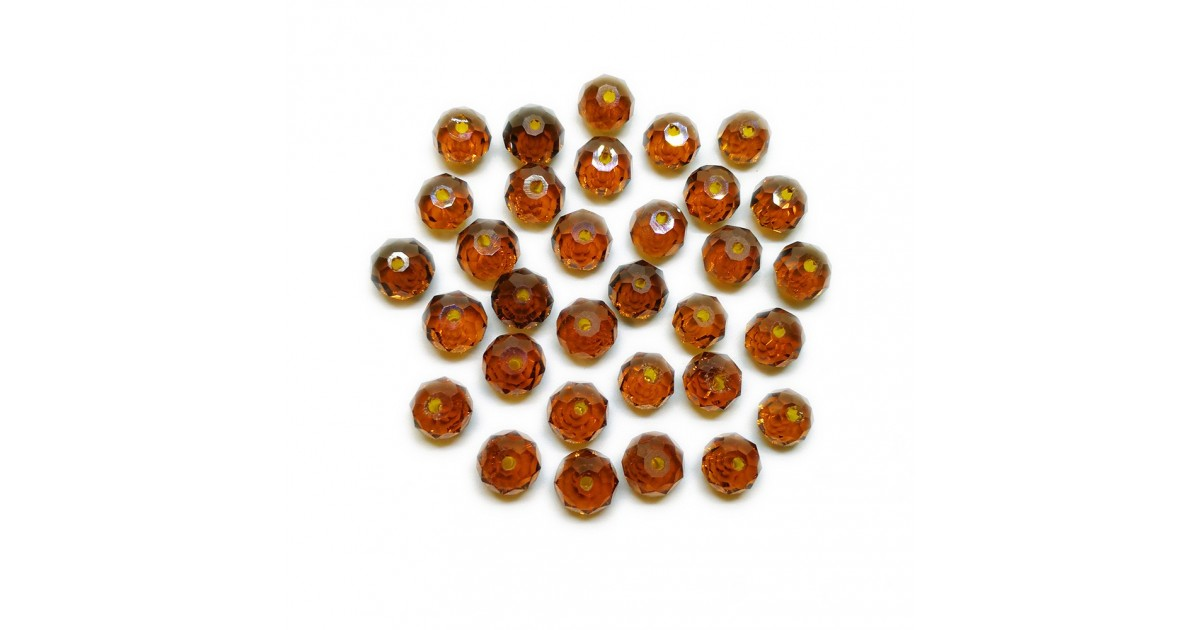 Faceted Glass Crystal Rondelle Beads 8 mm - Amber