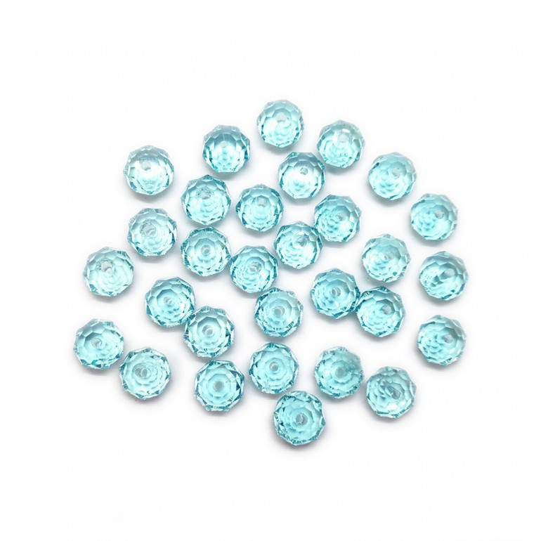 Faceted Glass Crystal Rondelle Beads 8 mm - Light Blue