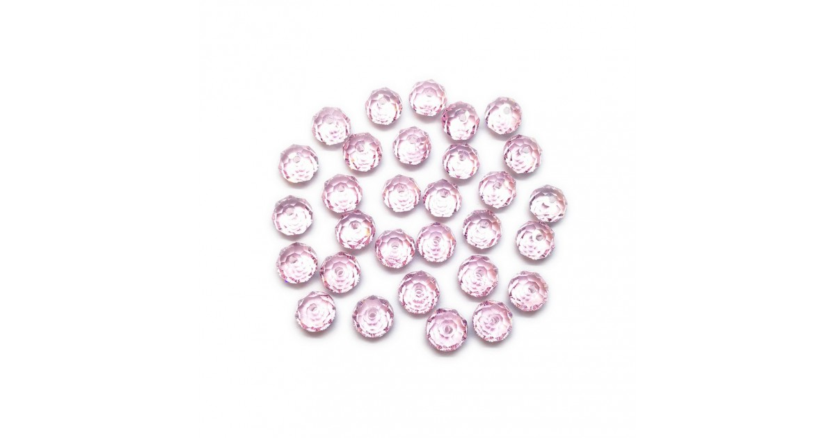 Faceted Glass Crystal Rondelle Beads 8 mm - Light Pink