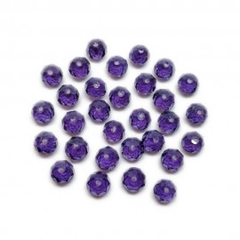 Faceted Glass Crystal Rondelle Beads 8 mm - Lavendar Purple