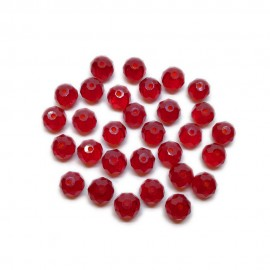 Faceted Glass Crystal Rondelle Beads 8 mm - Dark Red