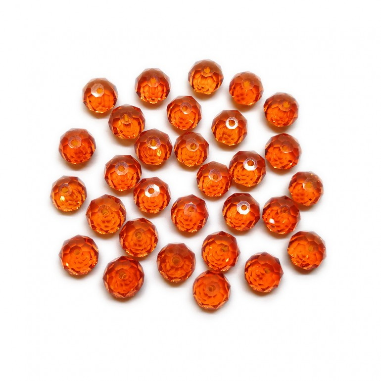 Faceted Glass Crystal Rondelle Beads 8 mm - Fire Orange
