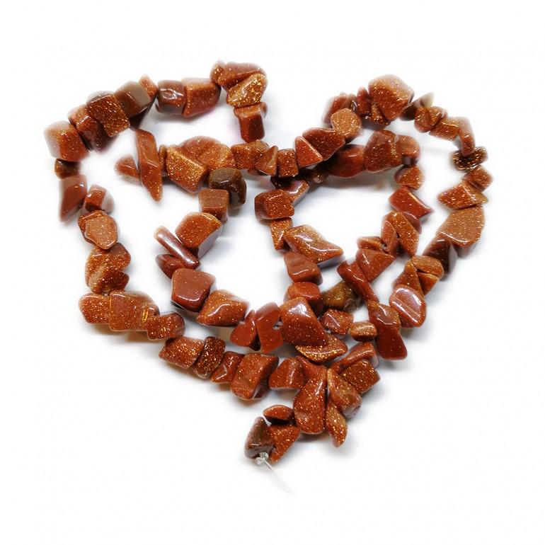 Goldstone Gemstone Chip Beads - Orange