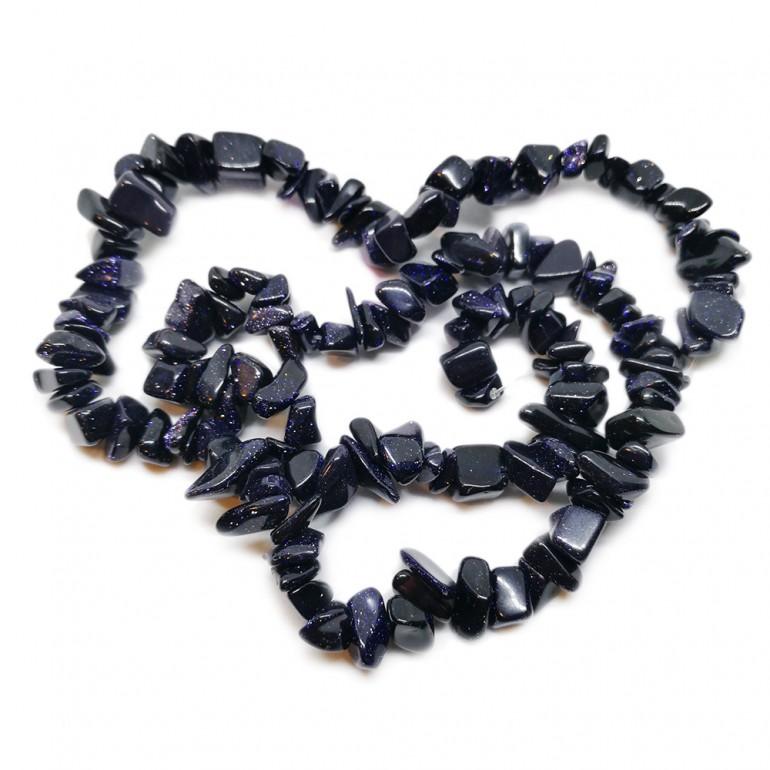 Goldstone Gemstone Chip Beads - Navy Blue