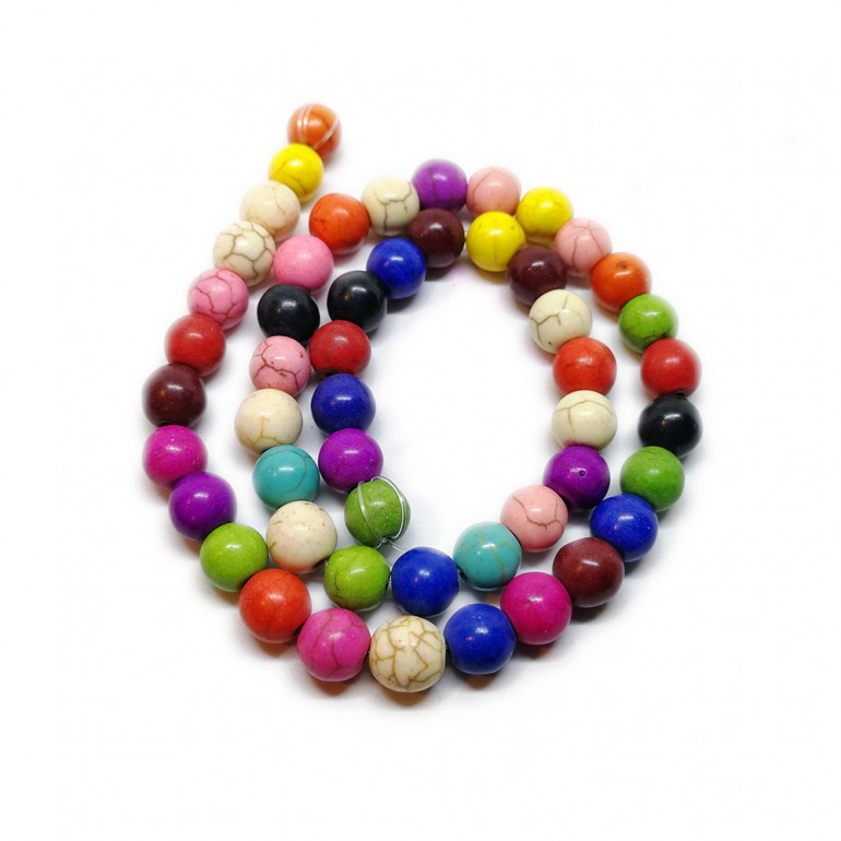 Strand of Multicolor Turkey Turquoise Round Beads 8 mm