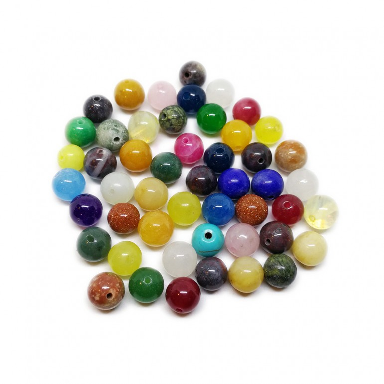 Assorted Natural Gemstone Round Beads 8 mm