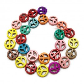 Strand of Assorted Dyed Color Stone Peace Logo Beads 15 mm