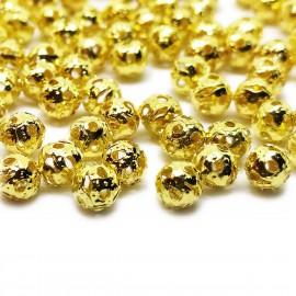 Filigree Hollow Metal Spacer Round Beads 4 mm - Gold