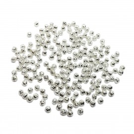 Filigree Hollow Metal Spacer Round Beads 4 mm - Silver