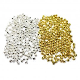 Filigree Hollow Metal Spacer Round Beads 4 mm - Silver Gold Mixed