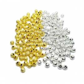 Stardust Metal Spacer Round Beads 4 mm -Silver Gold Mixed