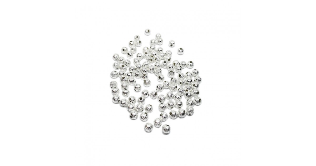 Stardust Metal Spacer Round Beads 4 mm -Silver