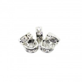 Clear Crystal Roundelle Spacers 5 mm - Silver