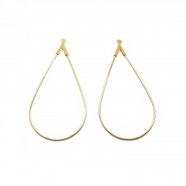 Open Teardrop Ear Hoops - Gold