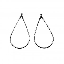 Open Teardrop Ear Hoops - Black