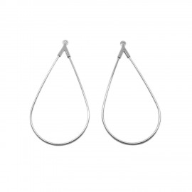 Open Teardrop Ear Hoops - Silvertone
