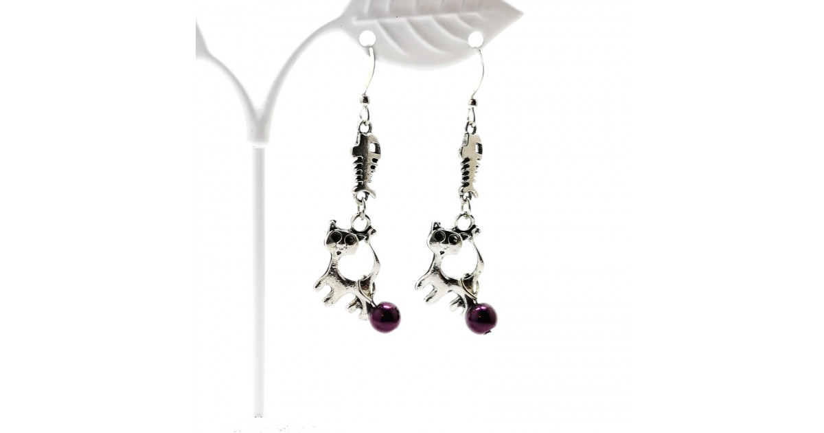 Handcrafted Cat and Fishbone Earrings