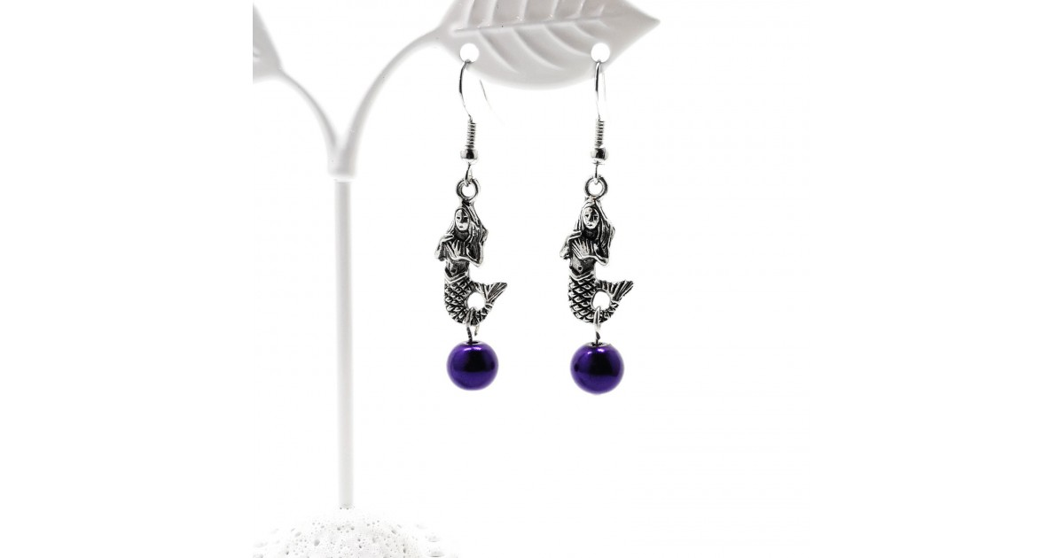 Handcrafted Mermaid Glass Pearl Earrings