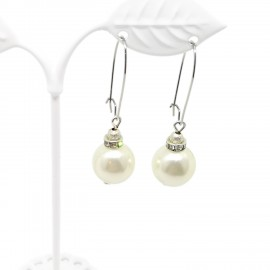 Handcrafted Acrylic Pearl with Crystal Earrings