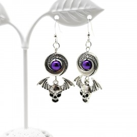 Handcrafted Halloween Winged Skull Earrings