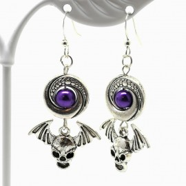 Handcrafted Halloween Winged Skull Earrings