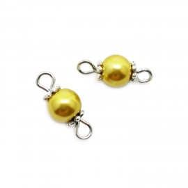 Handcrafted Glass Pearl Bead Links 6 mm - Gold