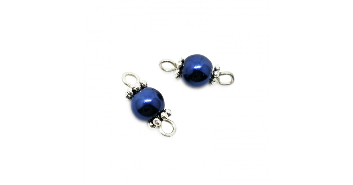 Handcrafted Glass Pearl Bead Links 6 mm - Royal Blue