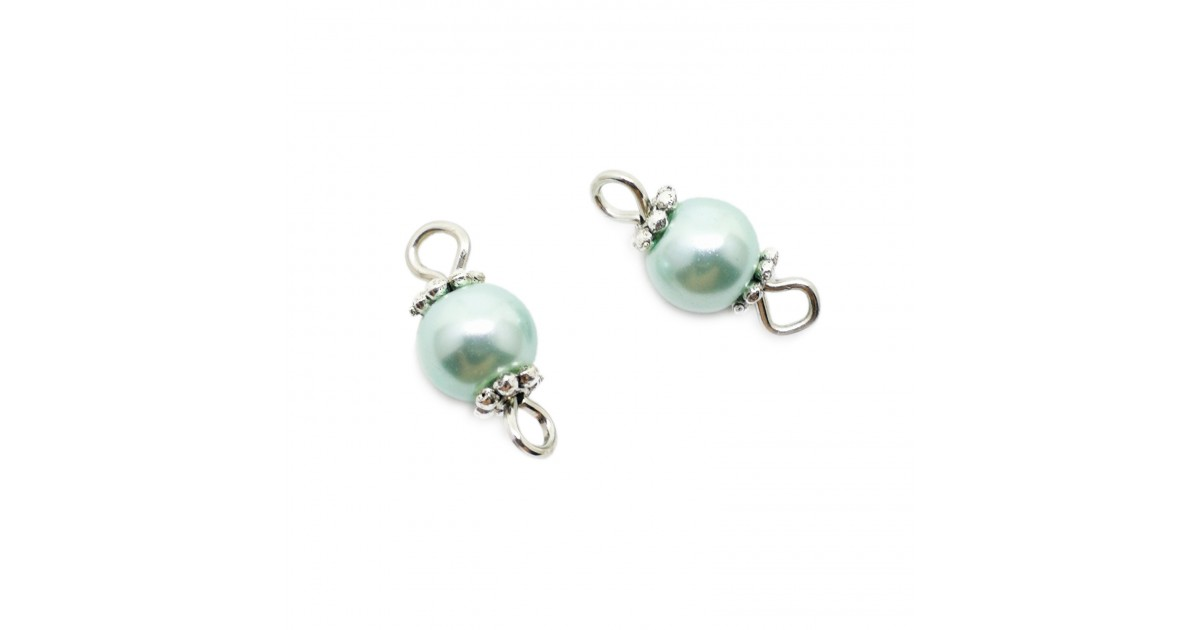 Handcrafted Glass Pearl Bead Links 6 mm - Light Blue