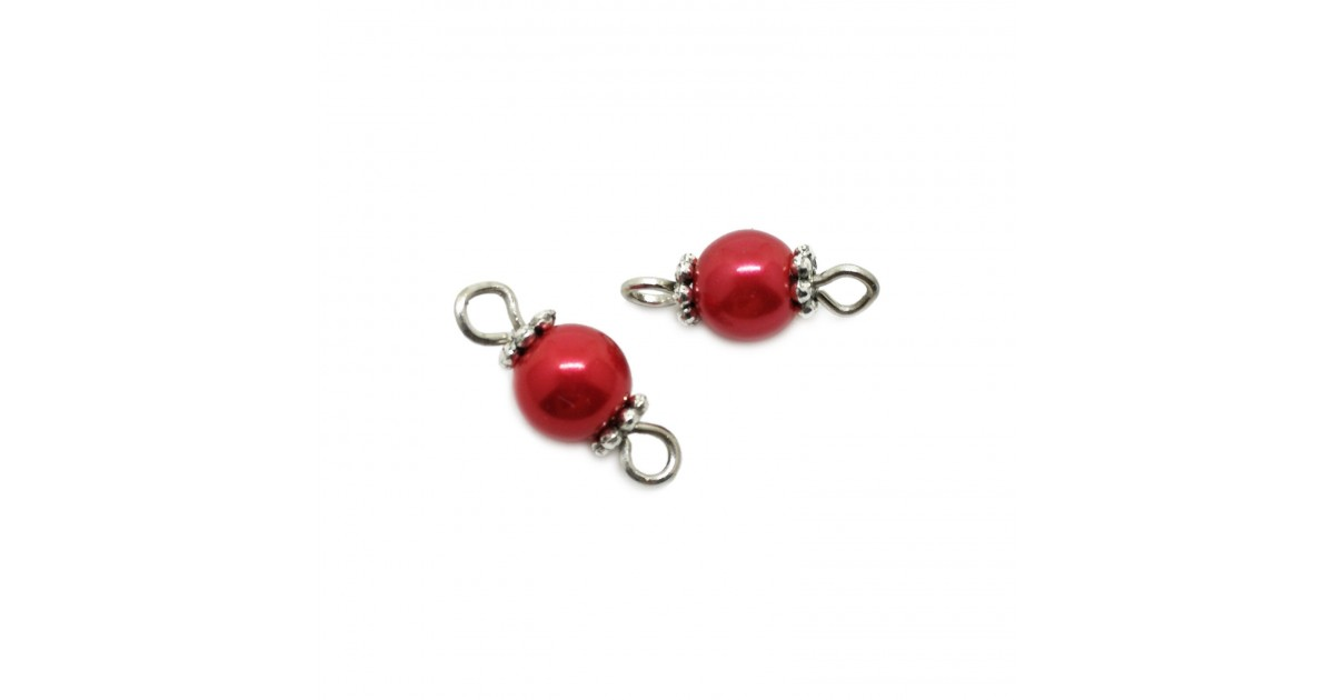 Handcrafted Glass Pearl Bead Links 6 mm - Red