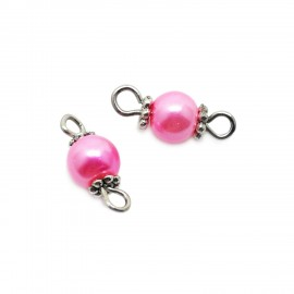 Handcrafted Glass Pearl Bead Links 6 mm - Pink