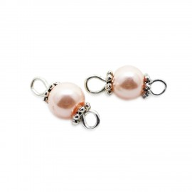 Handcrafted Glass Pearl Bead Links 6 mm - Light Pink