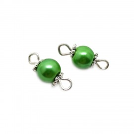 Handcrafted Glass Pearl Bead Links 6 mm - Emerald Green