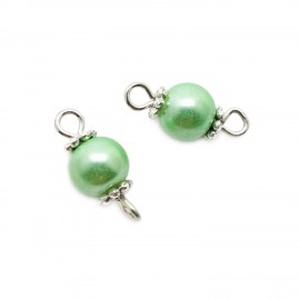 Handcrafted Glass Pearl Bead Links 6 mm - Light Green