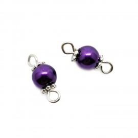Handcrafted Glass Pearl Bead Links 6 mm - Lavender Purple