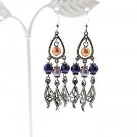 Handcrafted Purple Glass Pearl Drop Earrings