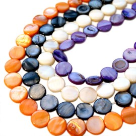 Strand of Coin Shape Dyed Color Geniune Shell Beads - Halloween