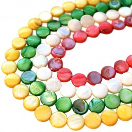 Strand of Coin Shape Dyed Color Geniune Shell Beads - Christmas