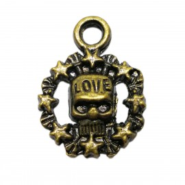 Antique Bronze Skull with Love Pendant Charm