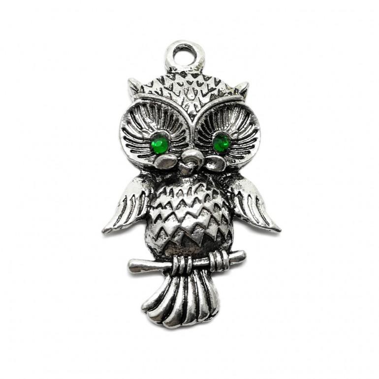 Owl Pendant Charm with Green Rhinestone Eyes